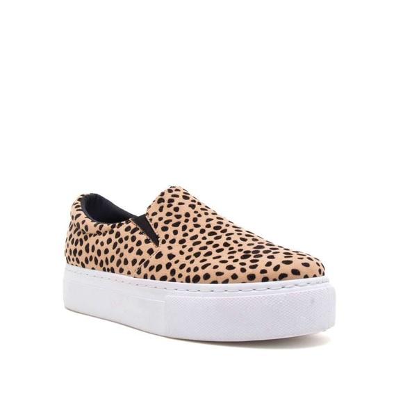 Leopard Print Platform Slip On Sneakers